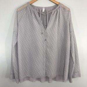 Gentle Fawn Gray Chiffon Long Sleeve Blouse